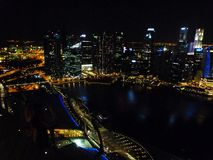 Beautiful view from above of the city modern building lifestyle design at night time Singapore Stock Photography