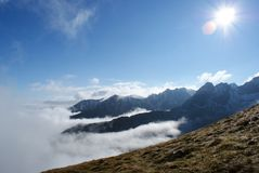 Poland - Tatry - Mountains above the clouds. Beautiful view above the clouds in the Tatry mountains in Poland stock photos