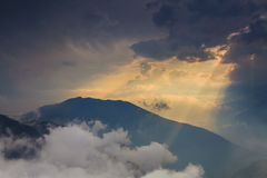 Beautiful view above cloudscape. And mountains Royalty Free Stock Image