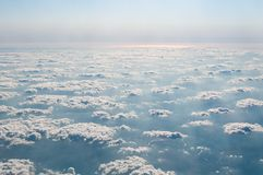 Beautiful view above cloudscape, mountains, river Royalty Free Stock Image