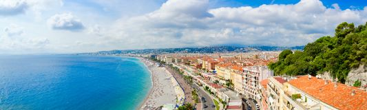 Beautiful view from above on sea andPromenade des Anglais, Nice, France. Beautiful panoramic view from above on sea and Promenade des Anglais, Nice, France stock image