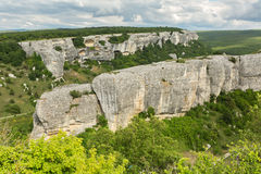 Beautiful view from above to Cave City Eski-Kermen in Crimea Royalty Free Stock Photo