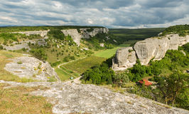 Beautiful view from above to Cave City Eski-Kermen in Crimea. Beautiful view from above to the Cave City Eski-Kermen in Crimea Stock Photography