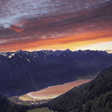 Beautiful view from above to lake achensee, austria Royalty Free Stock Images