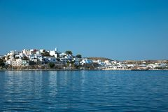 View of adamantas village from the sea royalty free stock images