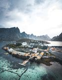 Beautiful view aerial drone of scenic Sakrisoy village Lofoten Islands archipelago scenery with traditional yellow royalty free stock photos