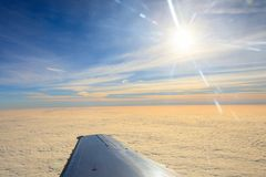Beautiful view from the aircraft to the clouds Royalty Free Stock Image