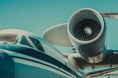 Beautiful view of an airplane on its part an airpcraft engine Royalty Free Stock Photography