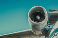 Beautiful view of an airplane on its part an airpcraft engine Royalty Free Stock Images