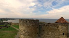 Beautiful view on Akkerman fortress in Belgorod-Dniester, Ukraine stock video footage