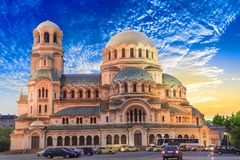 A beautiful view of the Alexander Nevsky Cathedral in Sofia, Bulgaria. On a sunny day stock photos