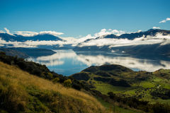 Beautiful view along the hike up Mount Roy. Beautiful hike up Mount Roy on a blue sky day in Wanaka Royalty Free Stock Image