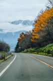 Hokkaido Road trip. Beautiful view along the road from Chitose Airport to Furano, a small town located in Hokkaido, Japan. Driving in Hokkaido is amazing, the Royalty Free Stock Image