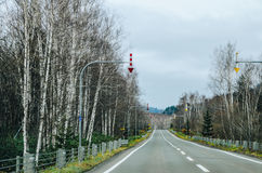 Hokkaido Road trip. Beautiful view along the road from Chitose Airport to Furano, a small town located in Hokkaido, Japan. Driving in Hokkaido is amazing, the Stock Photography