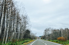 Hokkaido Road trip. Beautiful view along the road from Chitose Airport to Furano, a small town located in Hokkaido, Japan. Driving in Hokkaido is amazing, the Stock Image