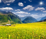 Beautiful view of alpine meadows in the Caucasus mountains Stock Image