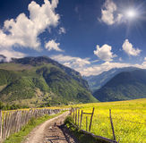 Beautiful view of alpine meadows in the Caucasus mountains. Royalty Free Stock Photos