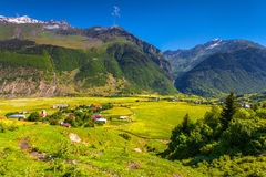 Beautiful view of alpine meadows in the village Zhabeshi. Stock Photos