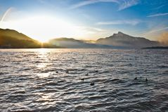 Beautiful view on Alps mountains and big lake Royalty Free Stock Photos