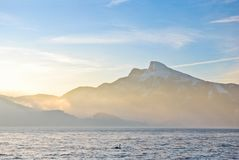Beautiful view on Alps mountains and big lake Royalty Free Stock Photo