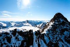 Beautiful view of the Alps mountains in sunny winter day, Austria, Stubai, Stubaier Gletscher resort royalty free stock photo