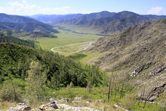 Beautiful view of Altai Mountains on the pass Stock Photography