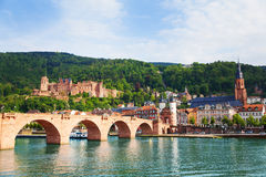 Beautiful view of Alte Brucke bridge and castle stock images