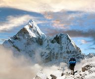 Beautiful view of Ama Dablam with tourist and beautiful clouds Royalty Free Stock Photos