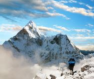 Beautiful view of Ama Dablam with tourist Royalty Free Stock Photography