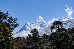 Beautiful view of Ama Dablam from trek to Everset in Nepal. Himalayas. royalty free stock photo