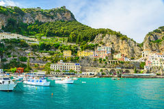 Beautiful view of Amalfi town on Amalfi coast from the sea with yachts and boats. Campania, Italy stock photos