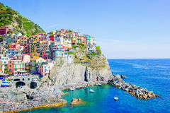 Beautiful view of the amazing village of Manarola in the Cinque Terre reserve. Liguria region of Italy. Royalty Free Stock Image