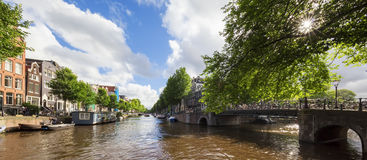 Beautiful view of Amsterdam canals Stock Photos