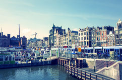 Beautiful view of Amsterdam canals with bridge and typical dutch Stock Photography