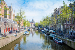 Beautiful view of Amsterdam canals with bridge and typical dutch Royalty Free Stock Photography