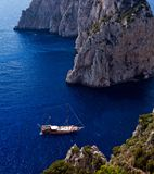 Beautiful view of anchored yachts by Capri Island Royalty Free Stock Photography