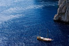 Beautiful view of anchored yachts by Capri Island. Southern Italy Stock Photo