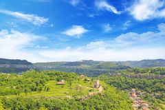 Beautiful view of the ancient fortress Tsarevets in the mountains, in Veliko Tirnovo, Bulgaria. On a sunny day Royalty Free Stock Image