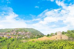Beautiful view of the ancient fortress Tsarevets in the mountains, in Veliko Tirnovo, Bulgaria. On a sunny day Stock Photos