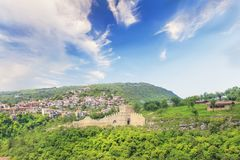 Beautiful view of the ancient fortress Tsarevets in the mountains, in Veliko Tirnovo, Bulgaria. On a sunny day Stock Photo
