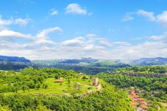Beautiful view of the ancient fortress Tsarevets in the mountains, in Veliko Tirnovo, Bulgaria. On a sunny day Stock Photography