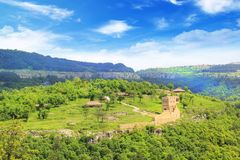 Beautiful view of the ancient fortress Tsarevets in the mountains, in Veliko Tirnovo, Bulgaria. On a sunny day Stock Image