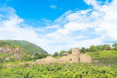Beautiful view of the ancient fortress Tsarevets in the mountains, in Veliko Tirnovo, Bulgaria. On a sunny day Royalty Free Stock Photos