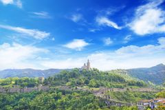 Beautiful view of the ancient fortress Tsarevets in the mountains, in Veliko Tirnovo, Bulgaria. On a sunny day Stock Images