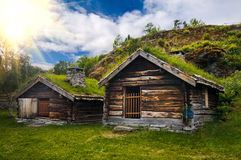 Beautiful view on ancient scandinavian village and Royalty Free Stock Images