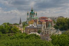 Beautiful view of the ancient street Andrew`s Descent and the St. Andrew`s Church. Kiev. Ukraine stock images