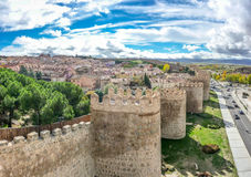 Beautiful view of the ancient walls of Avila, Castilla y Leon, Spain. Beautiful view of the historic walls of Avila, Castilla y Leon, Spain royalty free stock photography