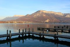 Beautiful view of the Annecy Lake in French Alps in sunset Stock Image