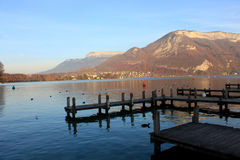 Beautiful view of the Annecy Lake in French Alps in sunset Stock Photo