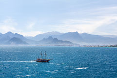 Beautiful view of Antalia harbor in old Turkey. royalty free stock images